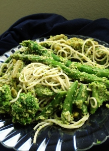 Broccoli Pesto with Rice Noodles