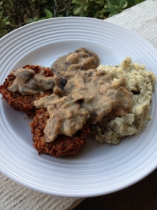 Vegan Mini Meatloaf with Ranch Potatoes and Mushroom Gravy