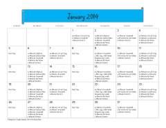 January 2014 Workout Calendar