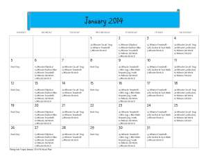 January 2014 Workout Calendar