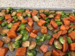 Balsamic Roasted Sweet Potatoes and Brussels Sprouts