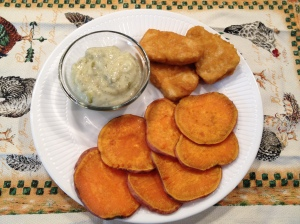 Gardein Fish, Sweet Potato Chips, Vegan and GF Tartar Sauce