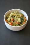 Vegan and GF Artichoke Pesto Spaghetti Squash