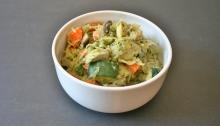 Vegan and GF Artichoke Pesto Spaghetti Squash