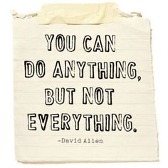 You Can do Anything, but Not Everything