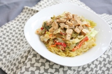 Sunbutter Pad Thai with Spaghetti Squash, vegan, gluten- and sugar-free
