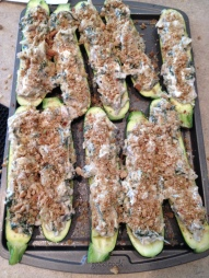 Vegan and Gluten-Free Spinach Artichoke Zucchini Boats