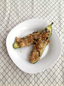 Vegan and Gluten-Free Spinach Artichoke Zucchini Boats