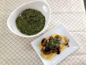 Vegan and Gluten-Free Roasted Veg and Spaghetti Squash with Olive Pesto