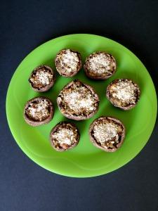 Olive Tapenade Hummus Stuffed Mushroom Appetizers