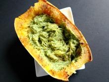 Vegan and Gluten-Free Green Chili Pesto Smothered Spaghetti Squash