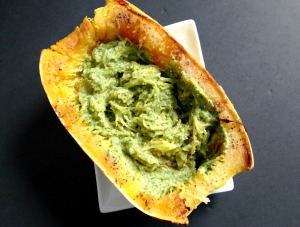 Vegan and Gluten-Free Green Chili Pesto Smothered Spaghetti Squash