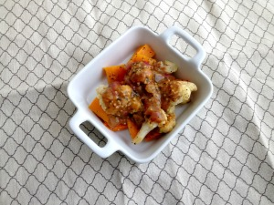 Vegan and Gluten-Free and Soy-Free Kung Pao Smothered Roasted Cauliflower and Butternut Squash