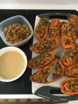 "Vegan and Gluten-free Holiday Inspired Stuffed Sweet Potatoes with Creamy ""Chz"" Sauce"