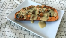 """Vegan and Gluten-free Holiday Inspired Stuffed Sweet Potatoes with Creamy """"Chz"""" Sauce"""