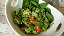 This vegan and gluten-free Spinach Pesto Salad is wonderful cold or warm!