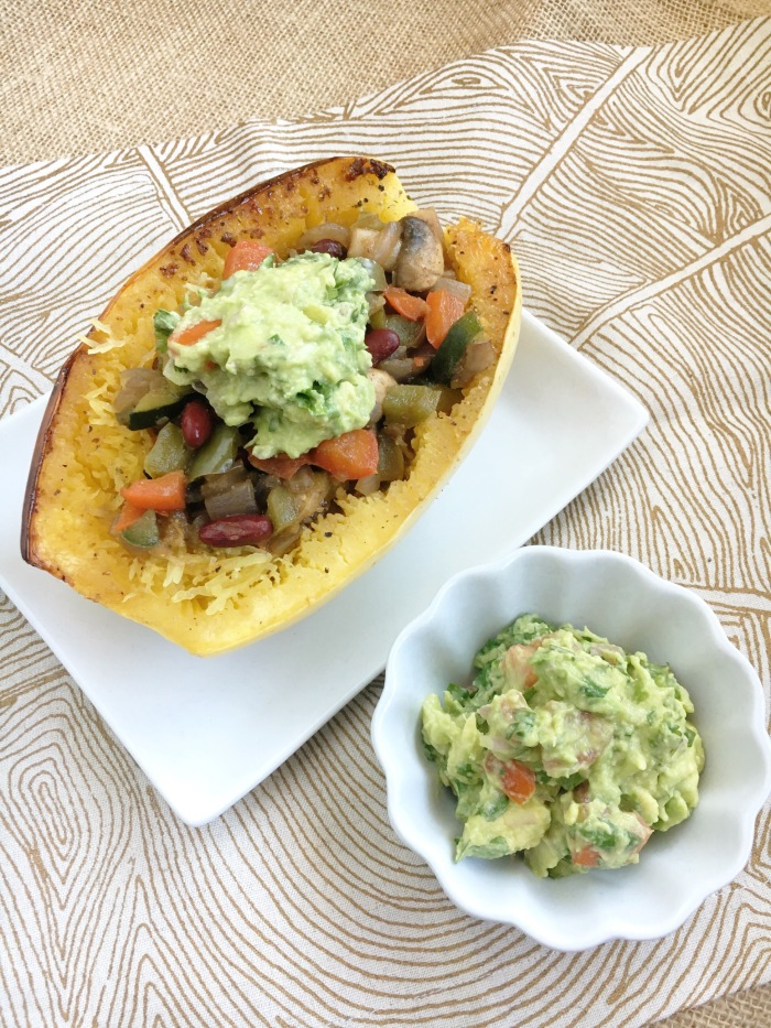 The Perfect Stuffing for a Spaghetti Squash - Vegan and Gluten-free Taco Stuffed Guacamole Spaghetti SquashThe Perfect Stuffing for a Spaghetti Squash - Vegan and Gluten-free Taco Stuffed Guacamole Spaghetti Squash
